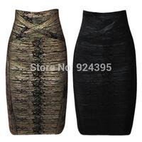 2014 Summer Fashion Bandage Skirts for Womens Sexy Clubwear Mini Slim Hip Career Ladies cloth Celebrity Gold Black Color HL