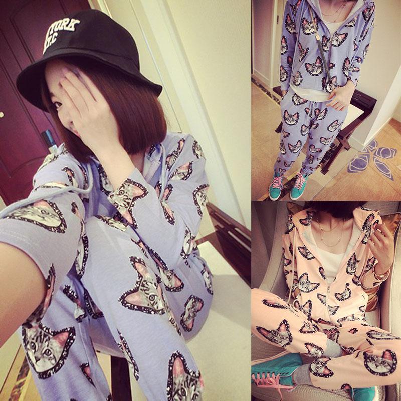 2014 autumn 2 piece set women hoodies vintage female sleep set print cat bedding set Free shipping(China (Mainland))