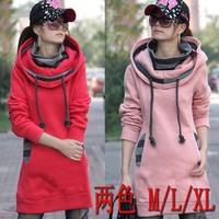 Spring and Autumn Korean New Women's hoody Slim Coat Long Thick Fleece Hooded Sweater Fake Piece Hoodies Sweatshirt