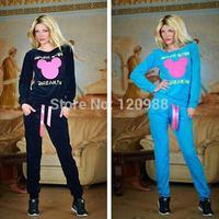 New Autumn 2014 Women Mickey Cartoon Hoodies Set Printed Sweatshirt+pant Casual Sport suit Pullover Tracksuits