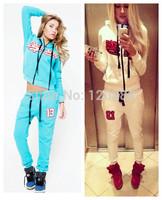 2014 New Autumn Winter Large Size 2 Piece Sport Suit Letter Sportswear Black Star Timati Print Sweatshirt Set Women Hoodie