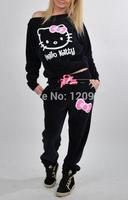 2014 Autumn New Women Hello Kitty Printed Cartoon Sweatshirts,Hoodies+pant Thicken Set Sport Suit Women,Tracksuits