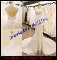 WHS017 Beaded Brial Gowns Vestido De Noiva Sexy Open Back Wedding Dress 2015 Hot Popular Sheath Mermaid Lace Wedding Dresses