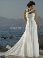 Free Shipping 2014 New Halter Straps Handmade Flower Chiffon Beach White Ivory Wedding Dresses