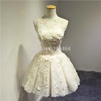 2014 Princess A-Line White red evening dress Lace Short Wedding Dress Bride Wedding Party Dress