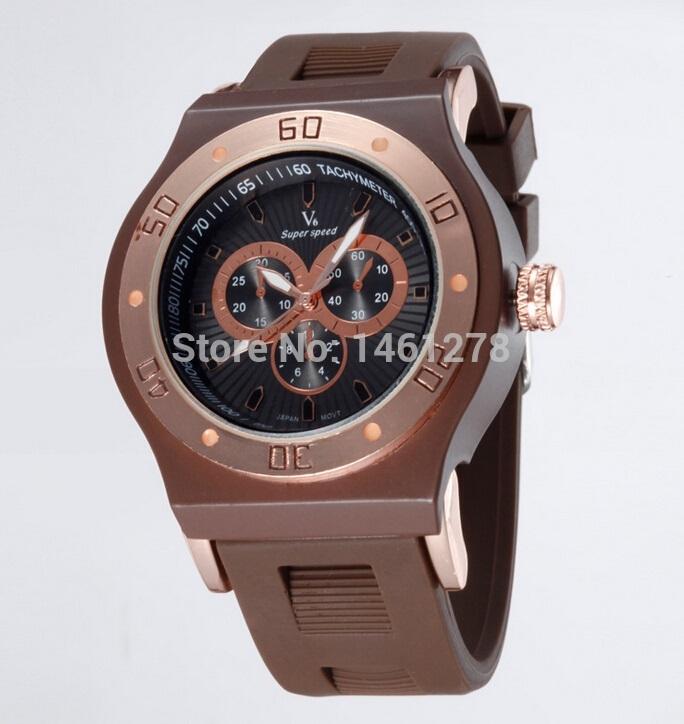 Vogue V6 Strips Hour Marks Round Dial Quartz Watch Men Fashion Hours Silicone Wrist Watch mens watches top brand luxury discount(China (Mainland))