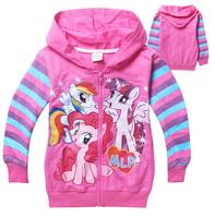 Retail New 2014 Frozen Girls Autumn Children Outerwear My little Pony Jackets Coat Hoodies Clothing Roupas Infantil in stock