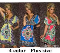 Fashion Retro 1960s 1970s Vintage Paisley Print V Neck Hippie Bohemian Summer Dress Women Beach Dress 6883