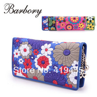 Women Wallets brand design high quality genuine leather soft pigskin print floral handmade day clutches female 2015 top fashion