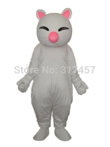 2014 NEW ARRIVE Big Pink Nose White Cat Fancy Dress,Party dress Adult Character Halloween Cosplay mascot costume free shipping(China (Mainland))