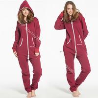 2014 Casual Female Wine Red Hoodies jumpsuit one piece zip pullover teddies bodysuit women outwear overalls sweatshirt hoody