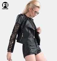 Fancyinn 2014 New Europe And USA Original Design Short Collar Coat  Lace Stitching Sleeve PU Leather Motorcycle Jacket