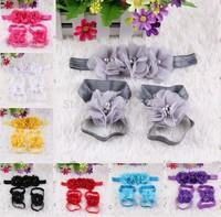 Beautiful Colorful 2 set Infant First Walker Baby Girls Headband foot flowers set, Kids/Newborn soft Crib Shoes, Super Quality