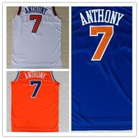 Carmelo Anthony Jersey New York #7 Carmelo Anthony REV 30 Quality Embroidery Home White Road Royal Blue Orange Basketball Shirt