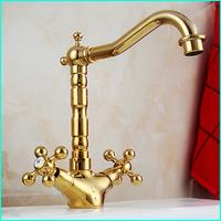 Gold Bathroom Basin Faucets, Mixers & Taps Deck Mounted Dual Handle Hot Cold Mixer Contemporary torneira para de pia banheiro