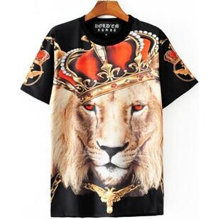 Hot 2014 primavera verão roupas da moda mulheres / homens galáxia Crown leão animais imprimir Novely 3D mulher Sportswear roupas T-Shirt PL17(China (Mainland))