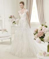Free Shipping Elegant Applique Tulle See Through Lace Corset Wedding Dress Princess 2015