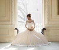 Long Lace Sleeve Chiffon Dream  Wedding Dress Bridal Gown