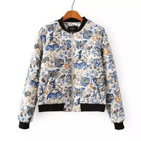 2014 winter women casual floral warm padded bomber jacket mandarin stand collar elastic sweep ladies short thick coat 407327