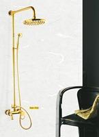 Bathroom Lavatory Polished Gold Finished Single Handle 8'' Shower Head Shower Faucet Set 52017/87