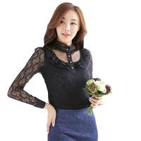 Office Women Lace Renda Tops Turtleneck Elegant Fashion Slim Waist Camisetas Femininas Verao Black And White 1395