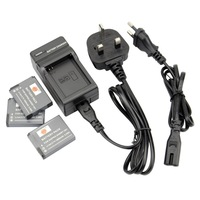 DSTE 3PCS Replacement Li-lon Battery Pack and UK & EU Plug Charger for Gopro AHDBT-001 Hero Hero2 Camera