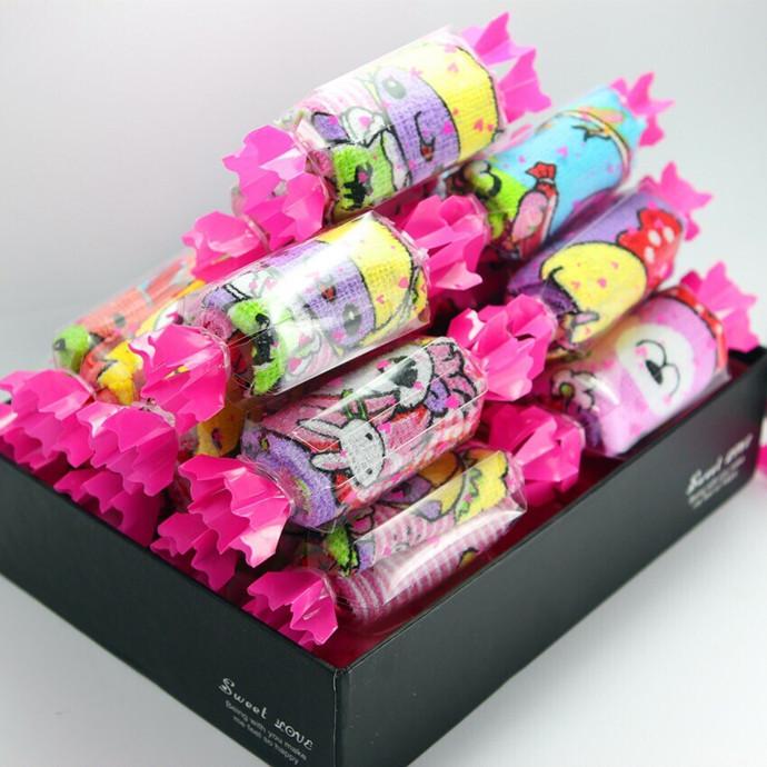 50pcs/lot free shipping Creative Cartoon candy towel children cartoon desgin gift hand towel(China (Mainland))