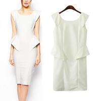 2014 autumn Europe fashion new ruffles slim sleeveless dress for women office uniform solid elegant vest casual dresses fw-368