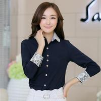 Korean New Lace Crochet Chiffon Blouses Office Lady Long Sleeve Slim Waist Work Elegant Desigual Shirts Blusa Passaros 3362