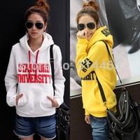 [Amy]  2014 new women hoodies cotton good quality fleece inside warm casual Hooded  letter sweatshirts 2color