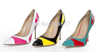 Drop Shipping 2014 Hot Patch Color Patent Leather Pointed Toe Fashion Dress Women Pumps High Heels Chain Shoes Lady 10cm