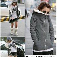 Black Gray Womens Zipper Hoody Lady/Girls Fur Input Hoodies Vintage Hoodies&Sweatshirts Free Drop Shipping Hot Selling