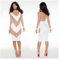 2014 New Women Fashion Dress sexy Back Lace Patchwork Clubwear Nightclub Summer Dresses Bandage Dress Party Bodycon