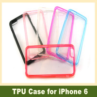 100pcs Dual Color Hard Plastic Back Crystal Clear Case Soft TPU Bumper Gel Cover for iPhone 6