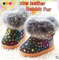 New Style! Cute Star Pattern Rabbit Fur Baby Boot Top Quality Baby Ankle Boots For Girls Cow Leather