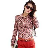 High Quality Bodycon Plaid Blouse Brief Button Design Full Sleeve Casual Ladylike Style Cotton Shirts Blusa Feminina Preta 9921