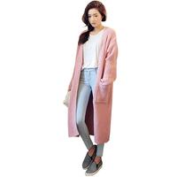 Loose Plus Size Maxi Knitting Cardigans Autumn Winter Fashion Novelty Long Sleeve Button Coats Star Brand Casacos Femininos 3988