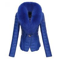 2014 winter thickening PU Jacket Large fur collar Down jacket Cotton-padded fur collar outerwear Coat M-XXL Plus Size parka