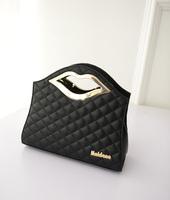 Fashion Style Prismatic Grid Lips Handbag Free Shipping 2014 Autumn New White Black Sliver Gold 21253
