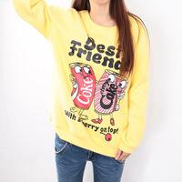 [Amy]  2014 new style cartoon women hoodies Coke cans printed flower cotton sweatshirts fleece inside hoodie 2 color  918F