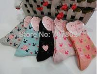 10pair/lot  2014 Hot Sale Free shipping fashion Lady's girls cute mickey  wool fur  Sock JFS92909