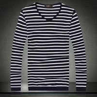 2014 autumn and winter fashion new Korean men's sweater V-neck sweater Slim models striped shirt tide male models 7019