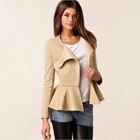 2015 Elegant Oblique Zipper Peplum Waist Jackets,Fall Long-sleeve Slim Round Collar Solid Color Blazer Women Work Wear 081201