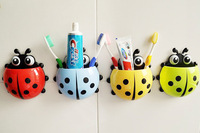 Cute Ladybug Toothbrush Holder Container Suction Cup Bathroom Home Decor Cartoon Animal