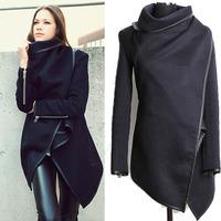 New 2014 Women Coat autumn Winter Woolen Long Sleeve Overcoat Fashion Trench Desigual Woolen Coat Casacos Femininos S-XXL Plus