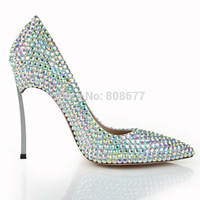 Top Quality Mary Janes Fashion Women High Heels Rhinestone Pumps Pointed Toe Lady Genuine Leather Wedding Party Dress Shoes