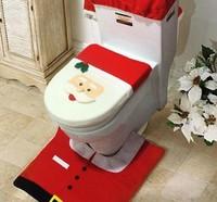 50sets 2014 New Christmas Decoration Happy Santa Toilet Seat Cover 1set include 3pcs Seat size 35.5*43cm
