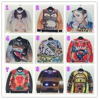 NEW!! HOT!!! 2014 Autumn Unisex Korean women's mens casual round neck loose Animal/Human 3d prints  sweatshirts ,9 color S-XL