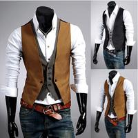 Men's Suit Vest Double Breasted Vests, Faux Two Piece Waistcoat