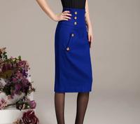 NEW ! high waiste wool skirts middle long over knee pocket button bag hip occupation one step ol skirt BLUE
